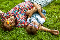 Father and daughter playing in the park in love royalty free stock photography