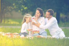 father of a daughter and a pregnant mom at a picnic. Stock Photo