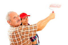 Father and daughter renovating home Stock Photo