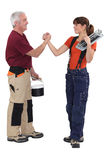 Father and daughter renovating house royalty free stock photos