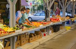 Father and Daughter at the Roanoke City Farmers Market royalty free stock photo