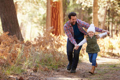 Father And Daughter Running Through Fall Woodland Royalty Free Stock Photos