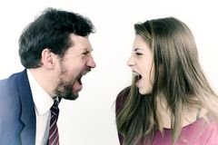 Father and daughter screaming at each other Stock Image