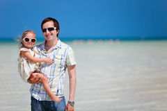 Father and daughter at shallow water Royalty Free Stock Images
