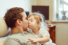 Father and daughter. Share love stock photos