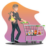 Father with daughter and shopping cart. Family shopping isolated vector illustration