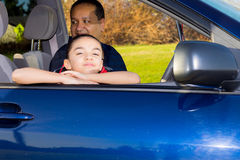 Father And Daughter Sitting In Mini Van Royalty Free Stock Images