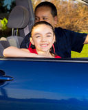 Father And Daughter Sitting In Mini Van Royalty Free Stock Photo