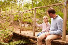 Father with daughter sitting at wooden bridge stock photography