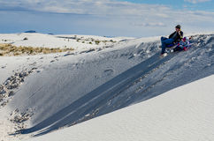 Father Daughter Sledding - White Sands National Monument stock photos