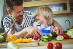 Father and daughter smiling at each other while preparing salad Royalty Free Stock Photo