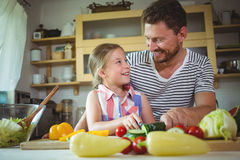 Father and daughter smiling at each other while preparing salad Royalty Free Stock Image
