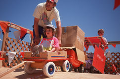 Father and daughter at Soap Box Derby Stock Photo