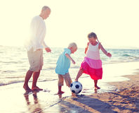 Father Daughter Son Beach Fun Summer Concept Royalty Free Stock Images