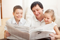Father with daughter and son Royalty Free Stock Images