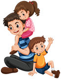 Father with daughter and son. Illustration vector illustration