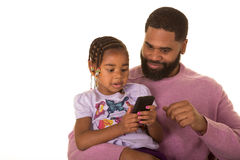 Father, daughter and technology Stock Photography
