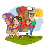 Father and daughter  traveling with backpac Royalty Free Stock Image