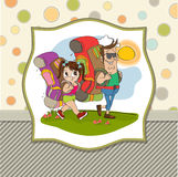 Father and daughter traveling with backpac Royalty Free Stock Photo