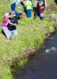 Father and Daughter Trout Fishing Stock Images