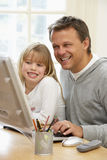 Father And Daughter Using Computer Royalty Free Stock Photo