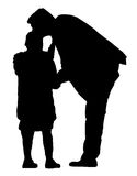 Father and daughter vector - black silhouettes Royalty Free Stock Image