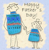 Father and daughter on a walk, happy and smiling to each other. Happy father's day, illustration with dad and daughter. Father and daughter on a walk, happy and Stock Image