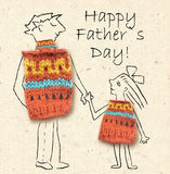Father and daughter on a walk, happy and smiling to each other. Happy father's day, illustration with dad and daughter Stock Photos