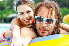 Father with daughter in water park Royalty Free Stock Image