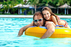 Father with daughter in water park Royalty Free Stock Images