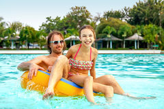 Father with daughter in water park Royalty Free Stock Photography