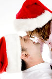 Father and daughter wearing santa hat Royalty Free Stock Photo