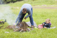 Father and daughter in the wild Stock Photography