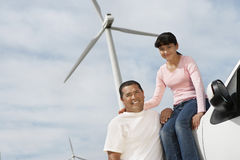 Father And Daughter At Wind Farm Stock Photos