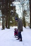 Father with daughter in winter fun Royalty Free Stock Photo