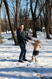 Father and daughter in winter park Royalty Free Stock Images