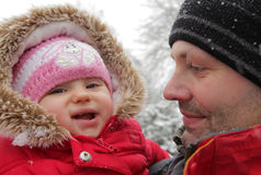 Father and daughter winter portrait Royalty Free Stock Photography