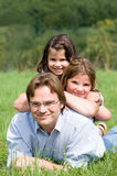 Father with daughters Stock Photo