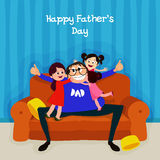 Father with daughters for Father's Day celebration. Cute daughters hugging and kissing their father on occasion of  Happy Father's Day celebration Stock Images