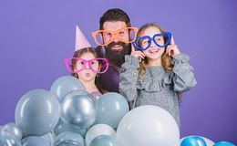 Father with daughters having fun. Fatherhood concept. Friendly family wear party accessories. Best dad ever. Fathers day. Daughters need father actively stock photo