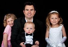 Father and daughters and son Royalty Free Stock Photo