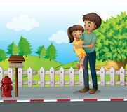 A father and a daugther at the road Royalty Free Stock Images