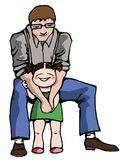 Father day. Little sweet girl with her father in father day stock illustration