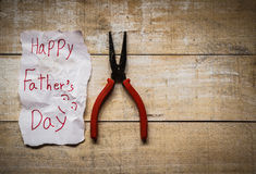 Father day card. Father day with paper card from kid on wood royalty free stock photos