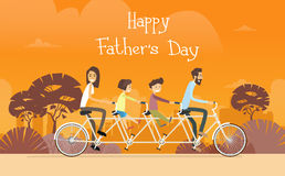 Father Day Holiday, Family Ride Tandem Bicycle Stock Photo