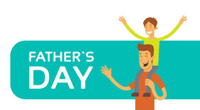 Father Day Holiday, Happy Son Sit On Dad Shoulder Stock Images