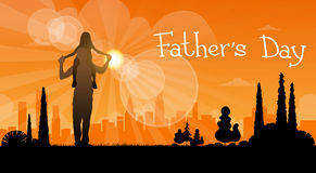 Father Day Holiday, Silhouette Daughter Sit On Dad Shoulders Stock Images