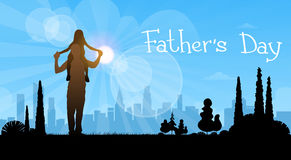 Father Day Holiday, Silhouette Daughter Sit On Dad Shoulders Royalty Free Stock Photo