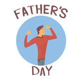Father Day Holiday, Strong Dad Show Muscle Royalty Free Stock Photography