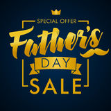 Father Day special offer SALE golden lettering banner. Special offer Father`s Day sale promotion vector design Stock Photography